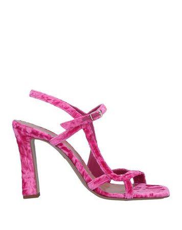 Dries van Noten  Damen Fuchsia Sandale Leder, Gewebefasern pink