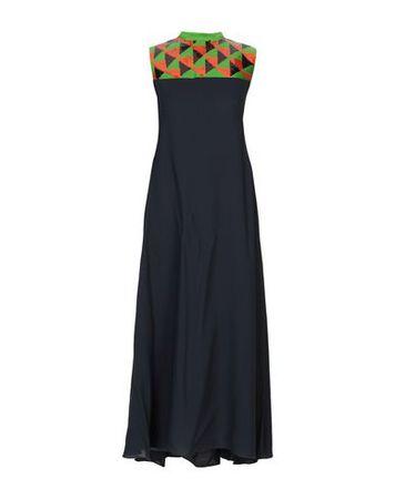 Dries van Noten  Damen Grün Langes Kleid Seide schwarz
