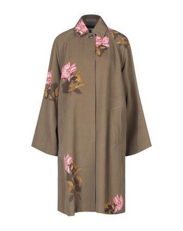 Dries van Noten  Damen Militärgrün Mantel Wolle braun