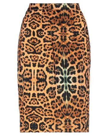 Dries van Noten  Damen Orange Knielanger Rock Viskose, Baumwolle, Metallfaser braun