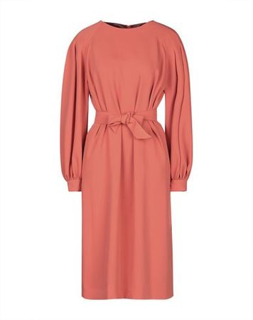 Dries van Noten  Damen Orange Knielanges Kleid Polyester rot
