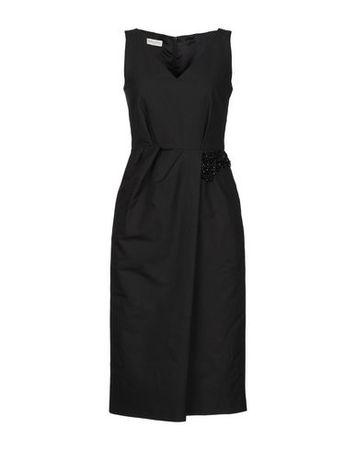 Dries van Noten  Damen Schwarz Knielanges Kleid Baumwolle, Polyester schwarz
