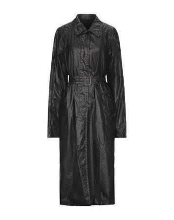 Dries van Noten  Damen Schwarz Lange Jacke Polyurethan, Baumwolle schwarz