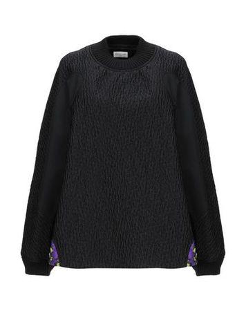 Dries van Noten  Damen Schwarz Sweatshirt Baumwolle, Polyester, Polyamid, Seide schwarz