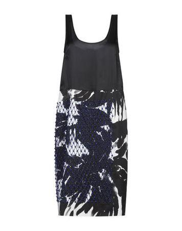 Dries van Noten  L Damen Schwarz Knielanges Kleid Baumwolle grau
