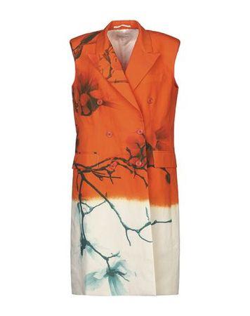 Dries van Noten  M Damen Orange Knielanges Kleid Baumwolle, Leinen orange