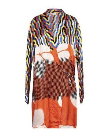 Dries van Noten  XS Damen Orange Lange Jacke Viskose braun