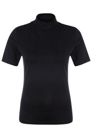 Drykorn Damen T-Shirt mit Stehkragen Pinana Schwarz