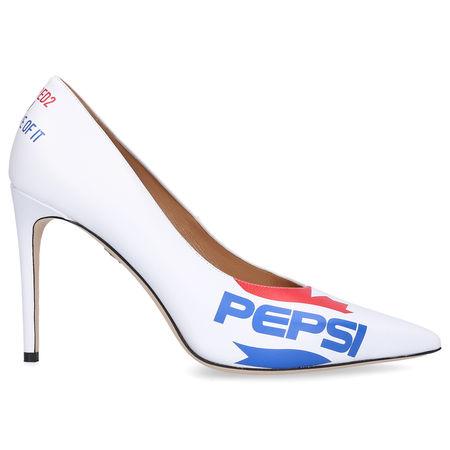 Dsquared2 Pumps PEPSI Kalbsleder Logo weiß weiss
