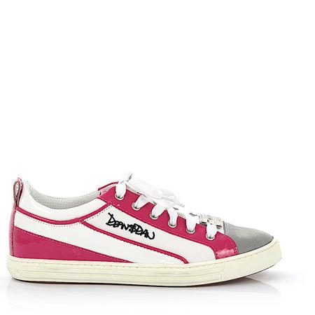 Dsquared2 Schnürer Baumwollmischung Kalbsleder  Lackleder Veloursleder Logo Metallverzierung grau pink weiß weiss