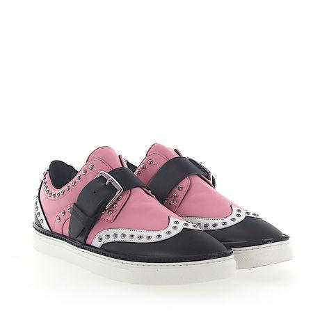 Dsquared2  Sneaker Kalbsleder  Nappaleder Logo Nieten rosa schwarz weiß braun