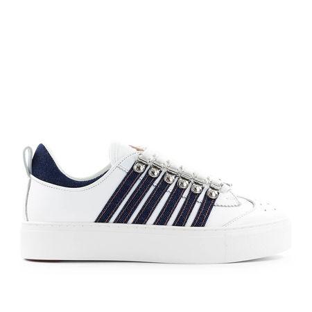 Dsquared2 Sneaker low 251 Kalbsleder Denim Logo weiß blau