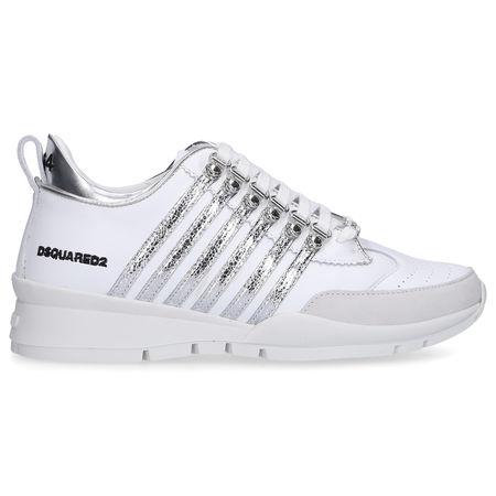 Dsquared2 Sneaker low 251 Kalbsleder Logo weiß silber