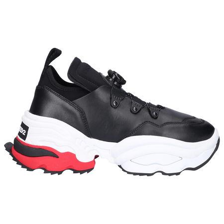 Dsquared2 Sneaker low THE ROLLING GIANT Kalbsleder Neopren Logo schwarz weiß grau