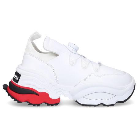 Dsquared2 Sneaker low THE ROLLING GIANT Kalbsleder Neopren Logo weiß grau