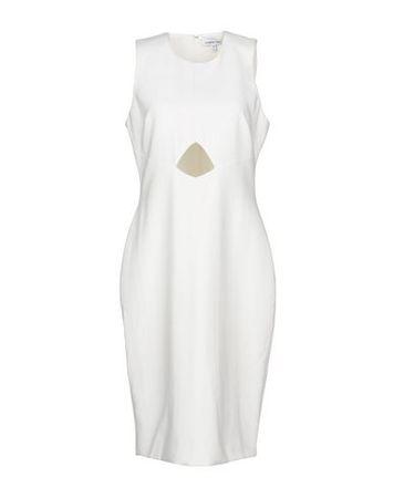 Elizabeth and James  Damen Elfenbein Knielanges Kleid Polyester, Viskose, Elastan braun