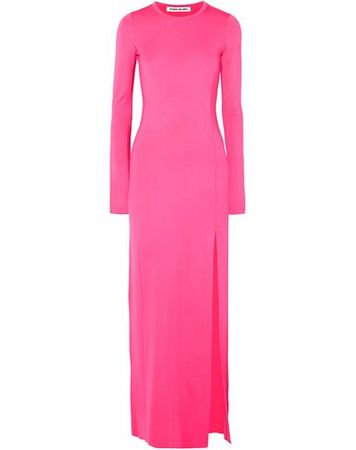 Elizabeth and James  XS Damen Fuchsia Langes Kleid Rayon, Elastan pink