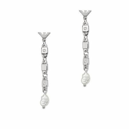 Emporio Armani  Ohrringe - Sterling Silver Chain-Link Earrings - in silver - für Damen