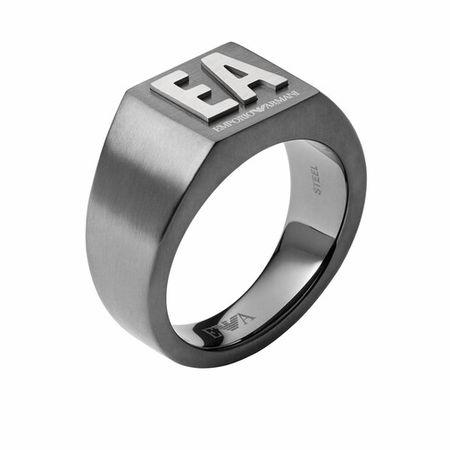 Emporio Armani  Ring - Men Stainless Steel Signet Ring - in gray - für Damen