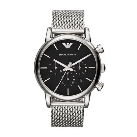 Emporio Armani  Uhr  -  Luigi Dress Watch Silver  - in silber  -  Uhr für Damen schwarz