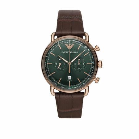 Emporio Armani  Uhren - Men Chronograph Alligator-Embossed Leather Watch - in brown - für Damen