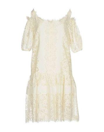 Ermanno Scervino  34 Damen Elfenbein Kurzes Kleid Baumwolle, Polyamid, Polyester, Ramie braun