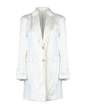 Ermanno Scervino  Damen Weiß Lange Jacke Viskose, Baumwolle, Metallic-Faser grau