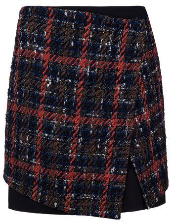 Etro Damen Tweed Rock in Wickeloptik Navy schwarz