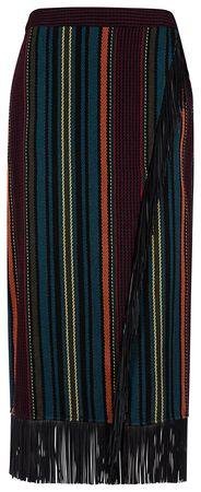 Etro Damen Wollrock mit Fransen mehrfarbig schwarz