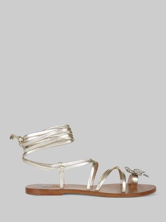 Etro Flache Sandalen Mit Schmetterlingsdekor, Damen, Gold, Größe 36 braun