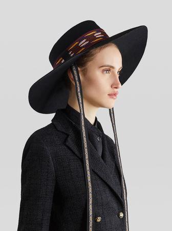 Etro Hut Mit Stickereien, Damen, Schwarz, Größe 56 grau
