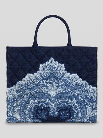 Etro Matelassé-shoppingtasche Mit Paisley-print, Damen, Navyblau