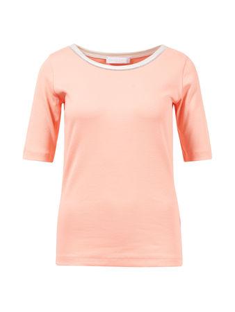 Fabiana Filippi  - Geripptes Baumwollshirt mit Perlenverzierung Aprikot orange