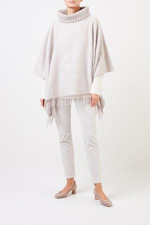 Fabiana Filippi  - Woll-Seiden-Poncho mit Perlenverzierung Beige