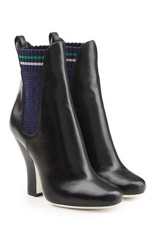Fendi  Ankle Boots aus Leder mit hohem Schaft schwarz