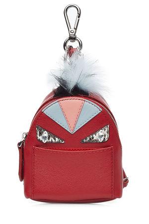 Fendi  Bag-Bug Backpack aus Leder und Fuchspelz rot