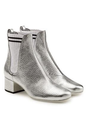 Fendi  Chelsea Boots aus beschichtetem Leder grau