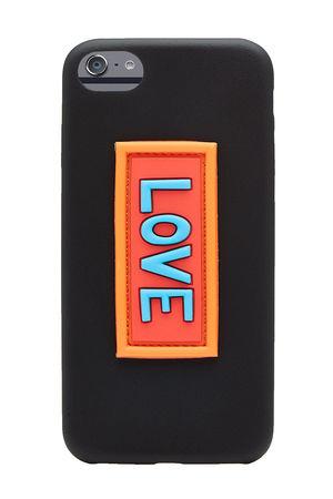 Fendi  iPhone 7-Hülle aus Leder mit Applikation schwarz