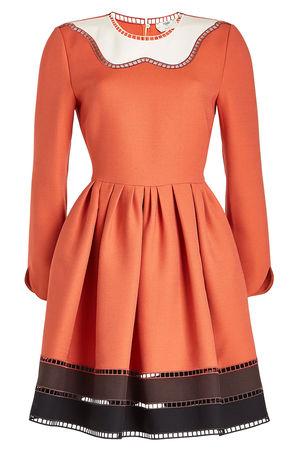 Fendi  Minikleid aus Wolle und Seide mit Cut Outs orange