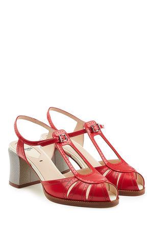 Fendi  Riemchensandalen aus Leder mit Block Heel rot
