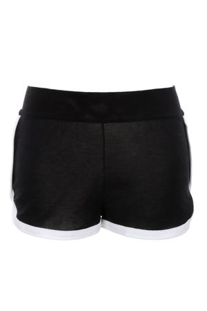 Fendi Shorts aus hochwertiger Baumwolle in Schwarz mit weißen Bündchen am Bein schwarz