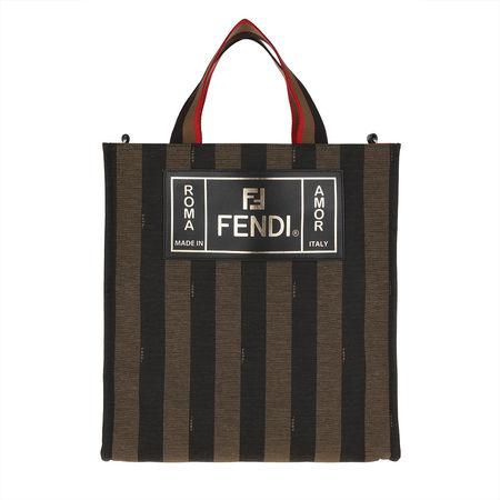 Fendi  Tote  -  Logo Handle Bag Stripes Canvas Brown  - in braun  -  Tote für Damen braun