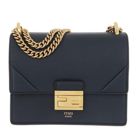 Fendi  Umhängetasche  -  Kan U Small Crossbody Bag Leather Navy  - in marine  -  Umhängetasche für Damen grau