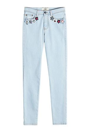 Fendi  Verzierte Skinny Jeans grau
