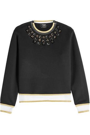 Fendi  Verzierter Pullover aus Baumwolle mit Zippern schwarz