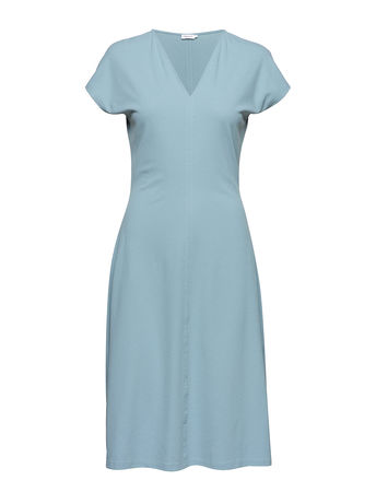 Filippa K Clean-Cut Cap Sleeve Dress Kleid Knielang Blau  grau