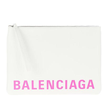 Balenciaga  Pochette  -  Zipped Logo Pouch White/Fluo Pink  - in weiß  -  Pochette für Damen weiss