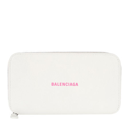 Balenciaga  Portemonnaie  -  Cash Zip Around Wallet White/Fluo Pink  - in weiß  -  Portemonnaie für Damen grau