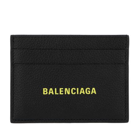 Balenciaga  Portemonnaie  -  Credit Card Holder Black/Fluo Yellow  - in schwarz  -  Portemonnaie für Damen schwarz