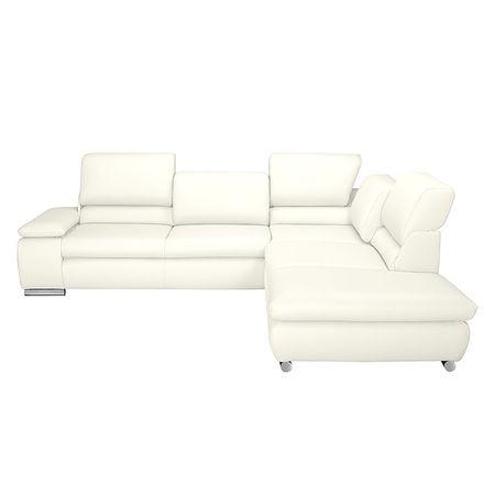 Fredriks   Ecksofa Masca I 2,5-Sitzer Weiß Echtleder 273x78x235 cm (BxHxT) mit Schlaffunktion Modern Weiß 273 cm x 78 cm x 235 cm